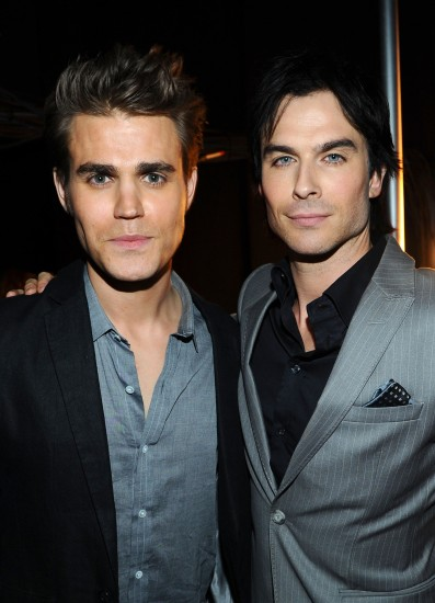 LOS ANGELES, CA - JANUARY 11: Actors Paul Wesley (L) and Ian Somerhalder attend the 2012 People's Choice Awards at Nokia Theatre L.A. Live on January 11, 2012 in Los Angeles, California. (Photo by Michael Buckner/Getty Images for PCA)